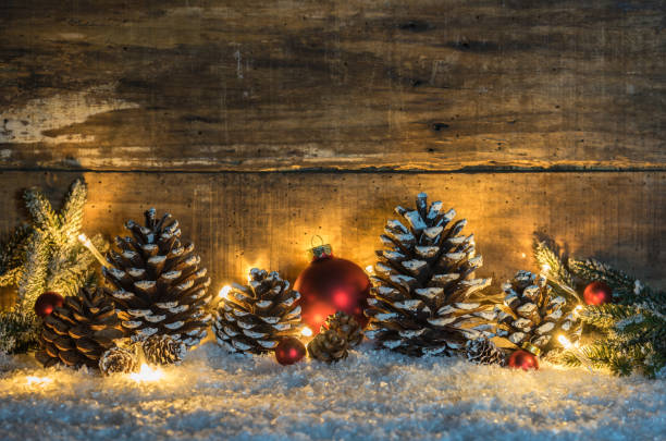 rustic christmas decoration with wooden background - non urban scene stock pictures, royalty-free photos & images