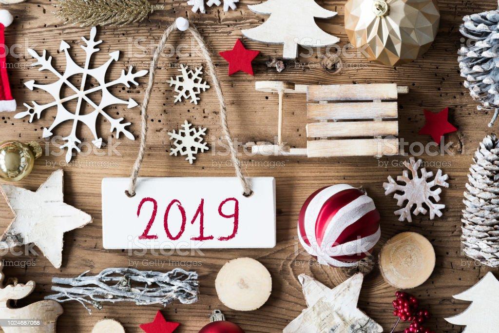 Rustikale Weihnachten flach lag, Text-2019 – Foto