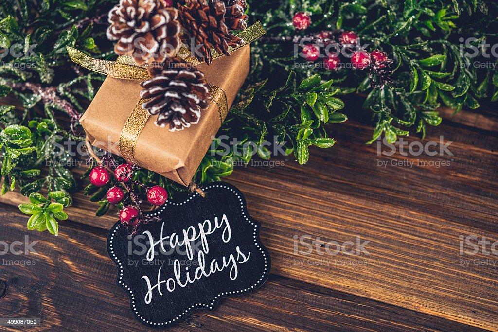 전원주의 크리스마스 선물 및 즐거운 휴가되시기 선물 카드 - 로열티 프리 0명 스톡 사진