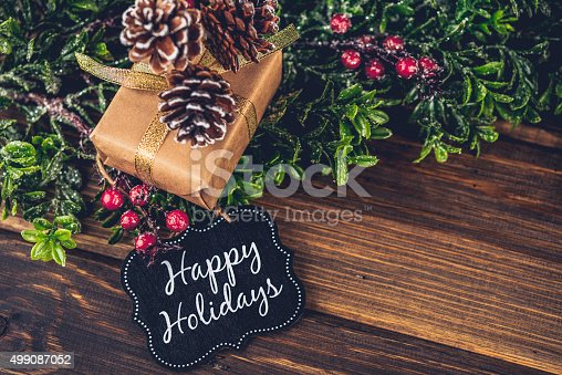 Rustic Christmas gift with Happy Holidays gift tag