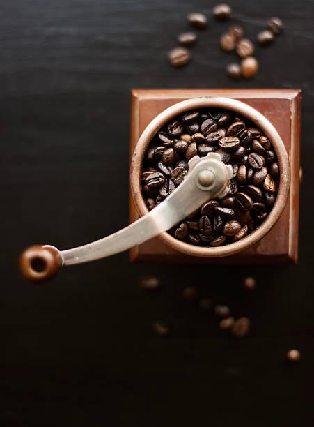Rustic coffee mill stock photo