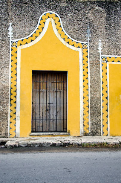 Rustic Door on a Building in Mexico stock photo