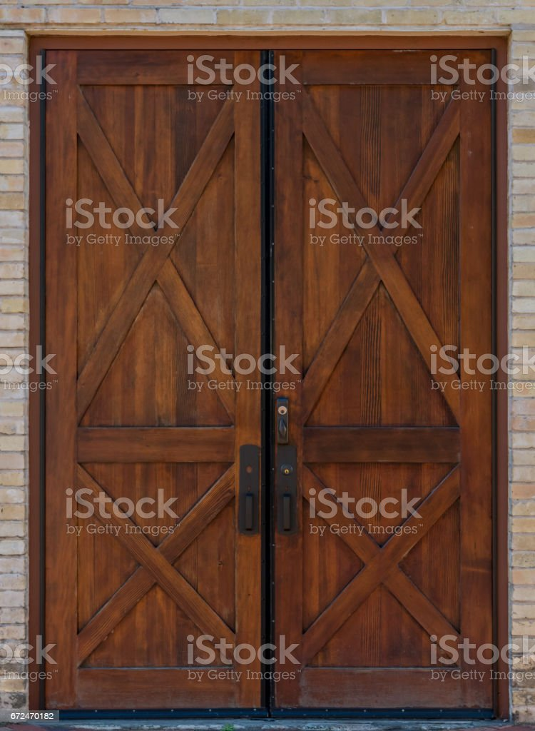 Rustic Double Wooden Door stock photo