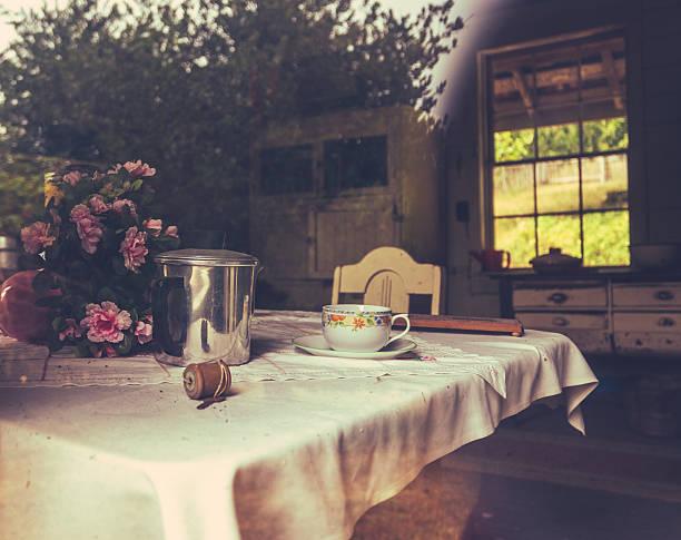 rustikale bauernhaus küche - kücheneinrichtung nostalgisch stock-fotos und bilder
