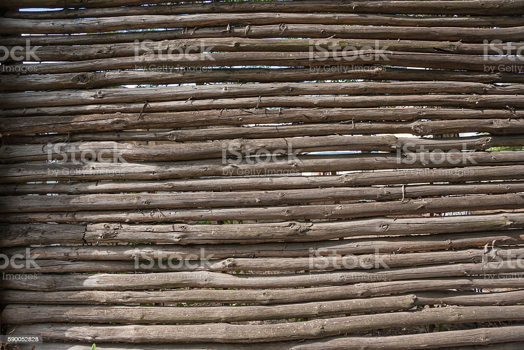 Rustic fense. Wooden background. stock photo