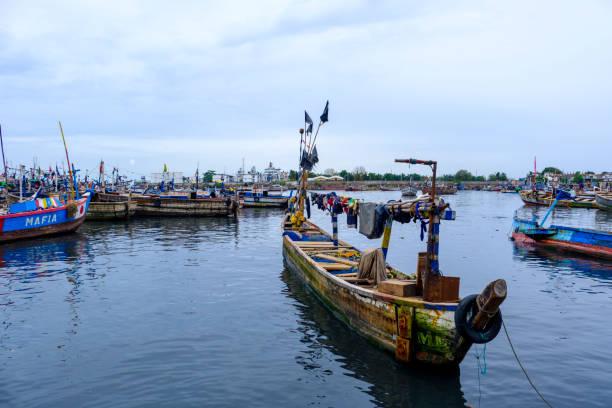 Rustic fishing boat Sekondi stock photo