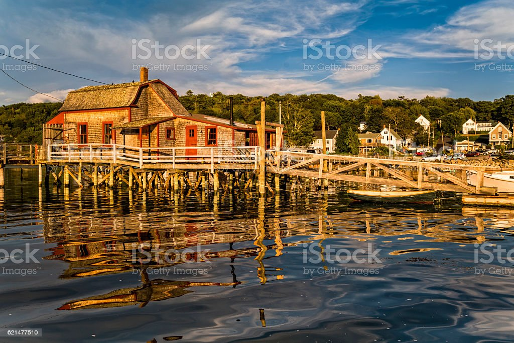 Rustic fishing pier in Maine stock photo