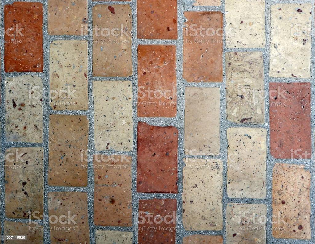 Rustic Floor Texture Made Of Mixed Terracotta Bricks Exterior Tiles