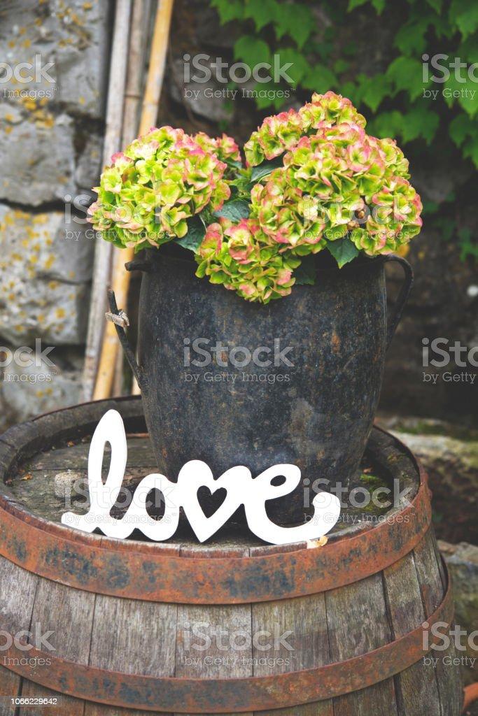 Rustic Flower Arrangement and Word Love