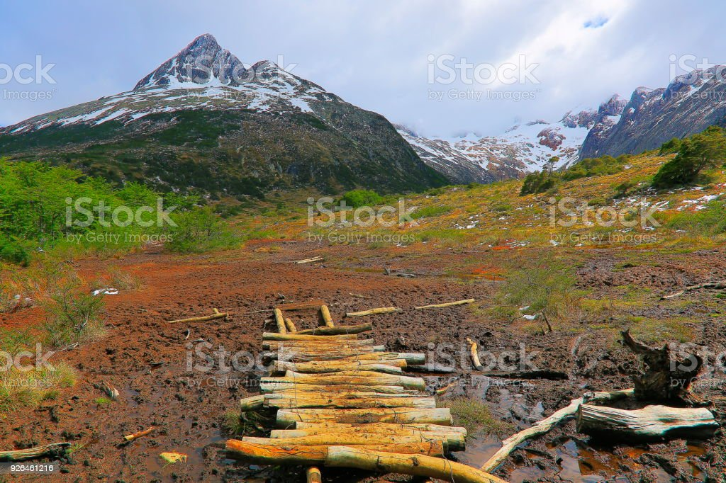 Rustic footbridge - trekking to Andes landscape, Ushuaia - Tierra Del fuego, Argentina stock photo