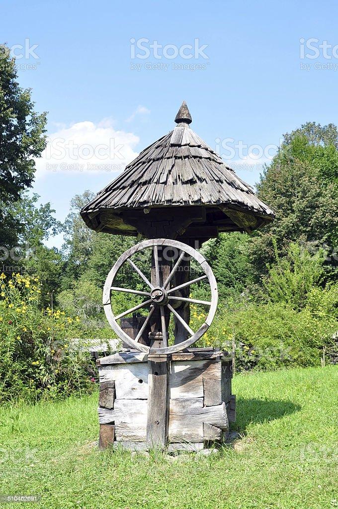 rustic fountain stock photo