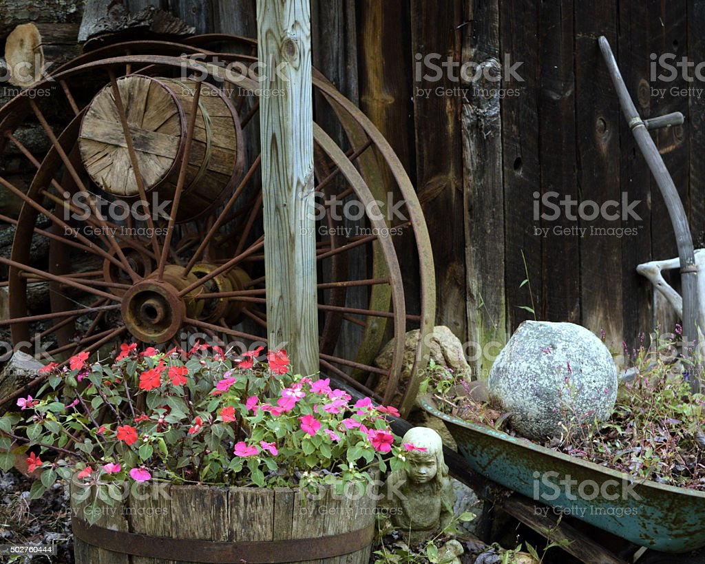 rustic garden shed with plants tools findings and ornaments royalty free stock - Rustic Garden 2015
