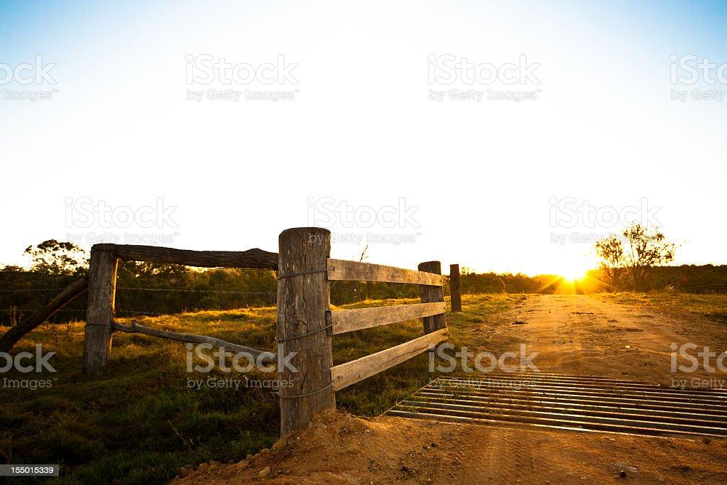 Rustic gate at an Australian farmhouse stock photo