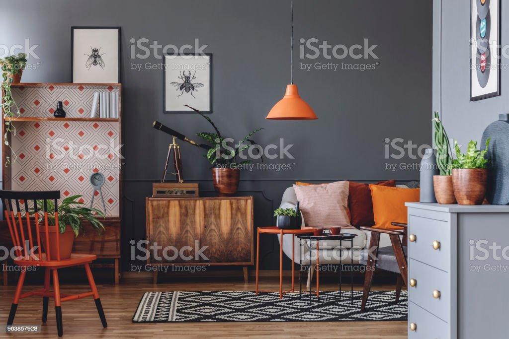 Rustic grey living room interior - Royalty-free Apartment Stock Photo
