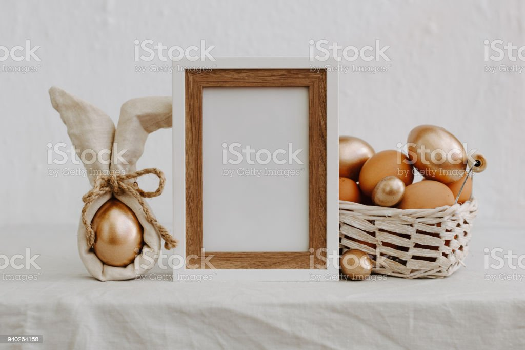 Rustic Happy Easter Funny Eggs With Linen Napkin On Rural Background Royalty Free Stock