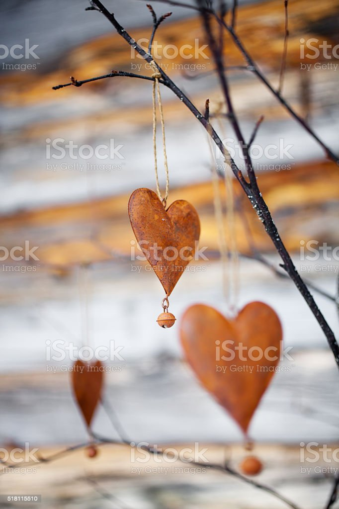 Rustic hearts stock photo
