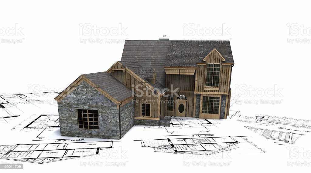 rustic house on blueprints royalty-free stock photo