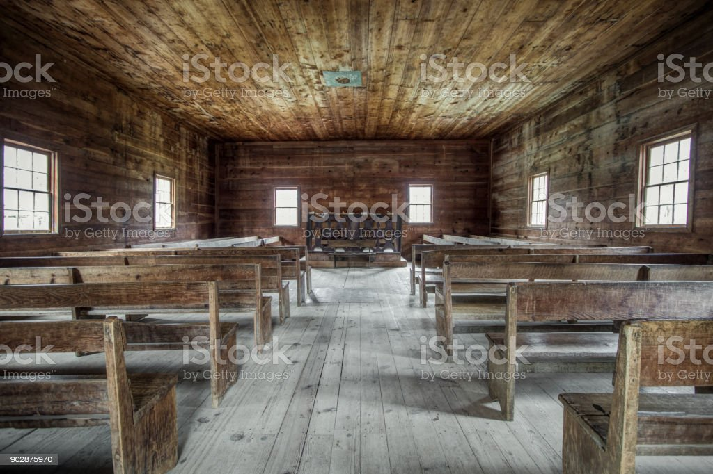 Rustic Interior Of Primitive Pioneer Church In The Great Smoky Mountains National Park stock photo