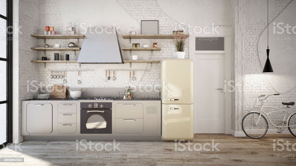 Rustic kitchen interior stock photo