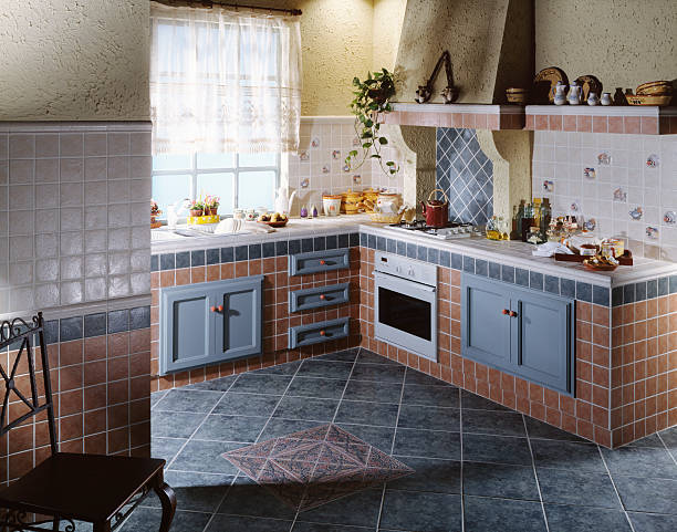 Rustic Kitchen Cottage kitchen made up of ceramic tiles grifare stock pictures, royalty-free photos & images