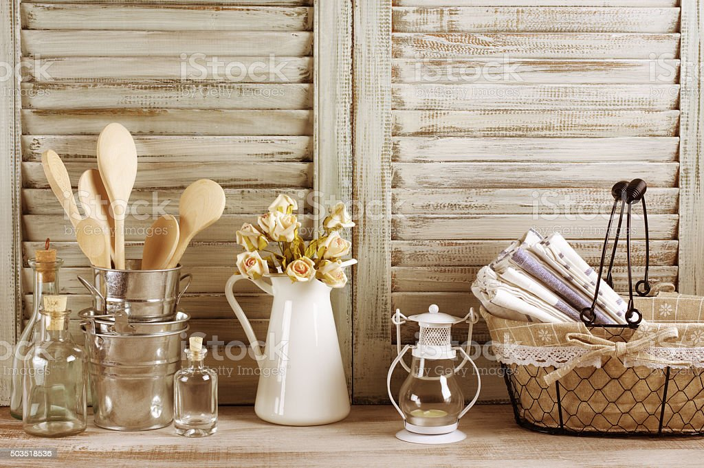 Rustic kitchen still life stock photo