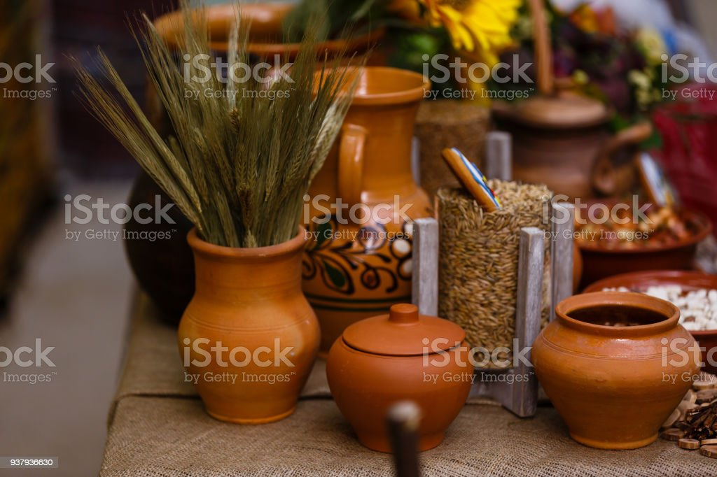 Rustic Kitchen Utensil. Empty Pottery Crockery. Home Wares. Kitchen Decor in Rustic Style. stock photo
