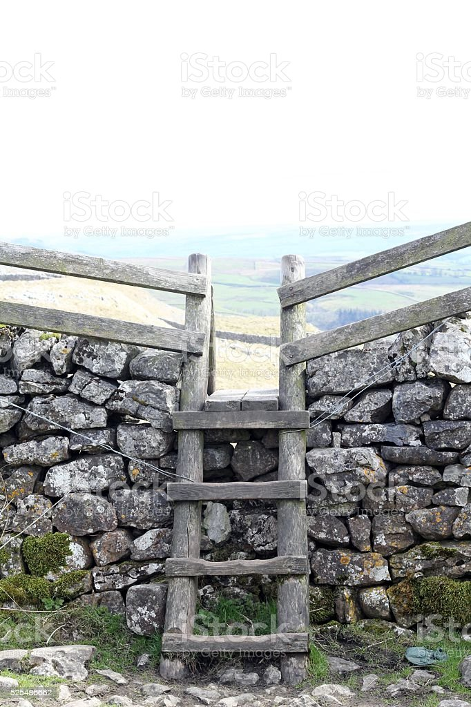 Rustic ladder and stile stock photo