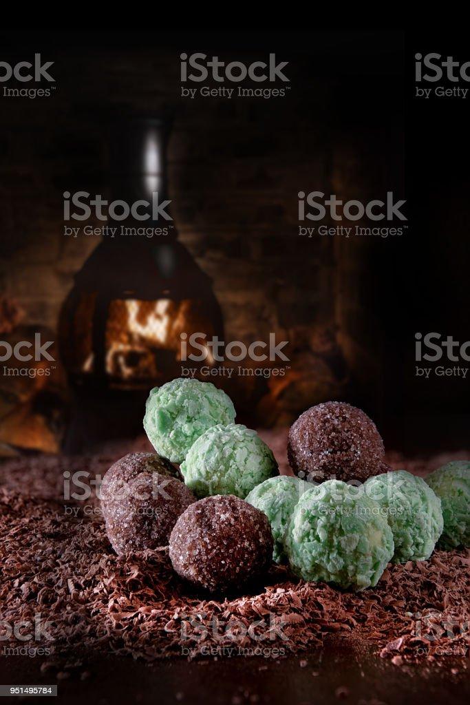 Rustic Liqueur Chocolates stock photo