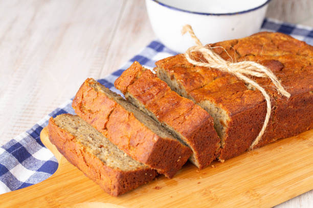 Rustic Loaf Of Gluten Free Banana Bread stock photo