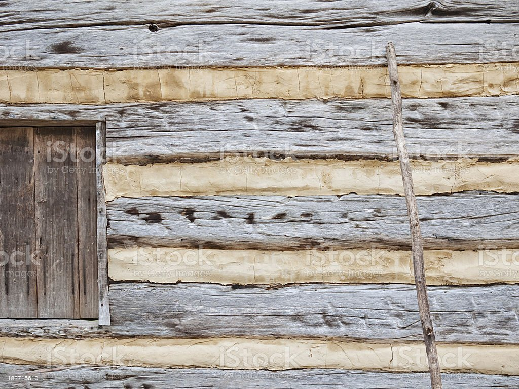 Rustic log cabin detail royalty-free stock photo