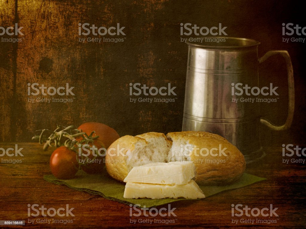 Rustic lunch still life. Artistic image. stock photo
