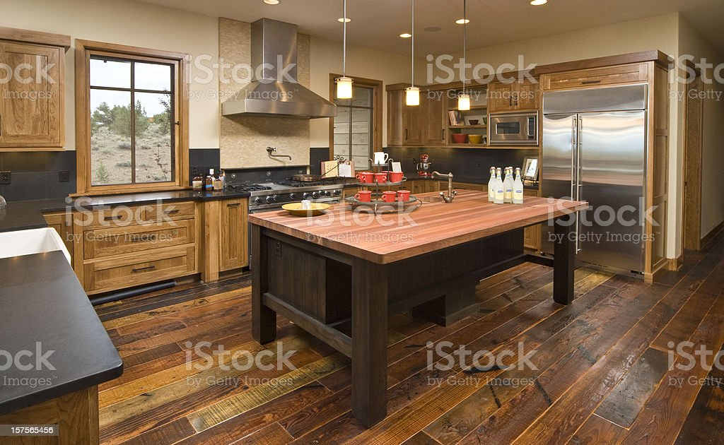 Rustic modern kitchen stock photo