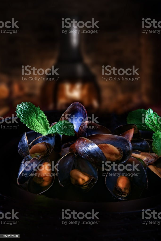 Rustic Mussels in Garlic and Wine stock photo