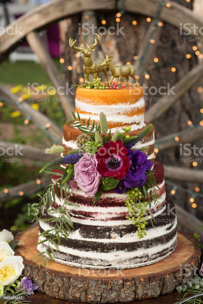 Rustikale Naked Hochzeitstorte Stock Fotografie Und Mehr Bilder Von