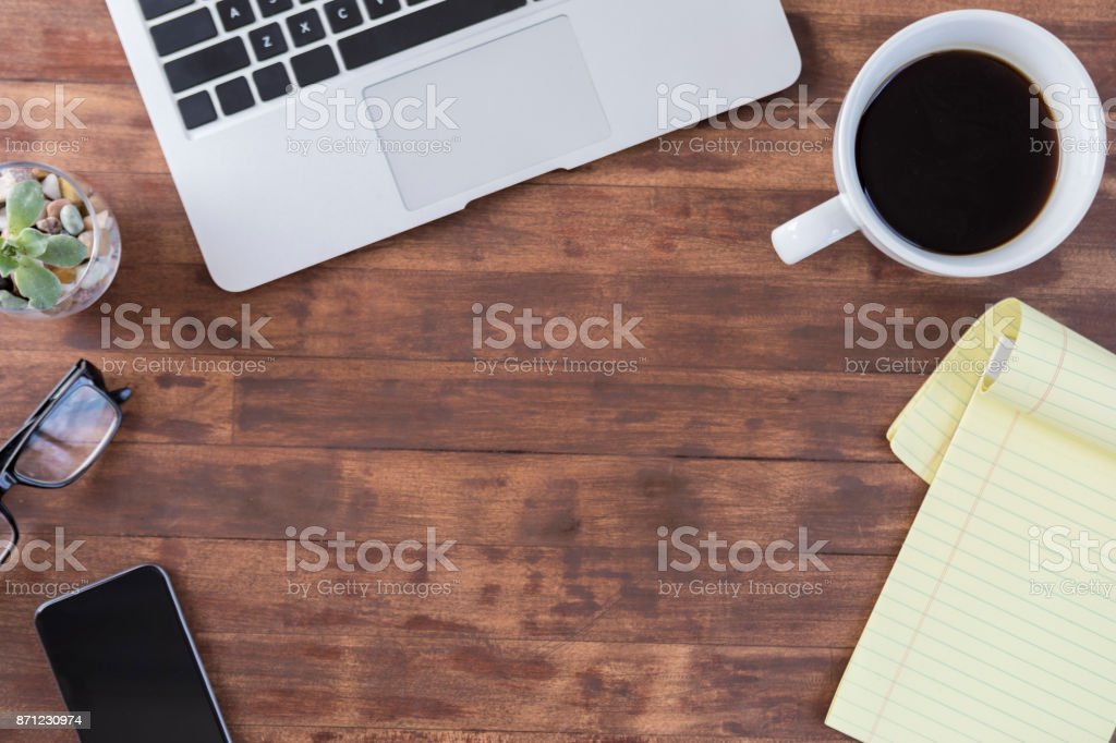 Rustic Office Copy Space And Blank Note Pad Stock Photo