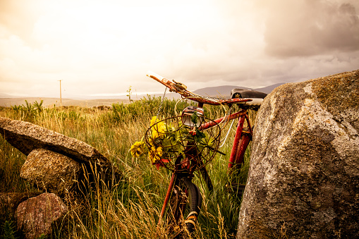 Rustic old Bicycle on Irish landscape with bright sunlight