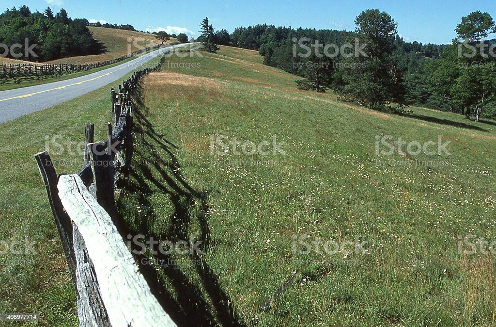 Rustic old fence Blue Ridge Parkway near Ajo North Carolina stock photo
