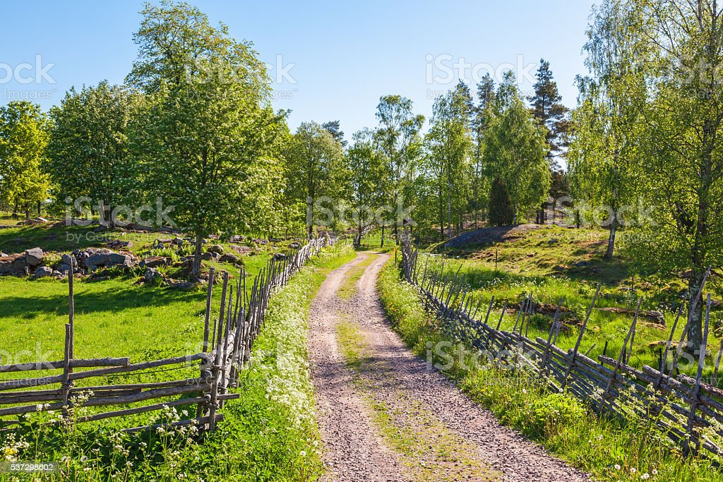 Rustic old landscape in summer stock photo