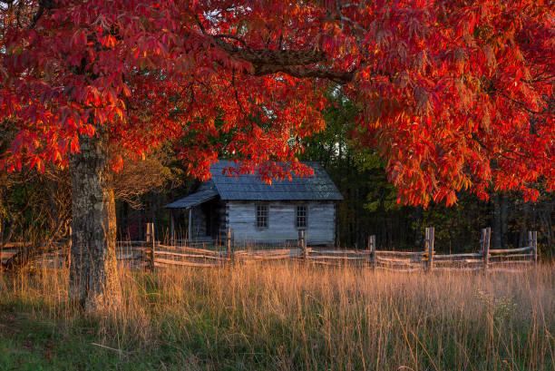Rustic old schoolhouse and autumn foliage stock photo