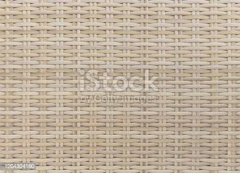 Full frame studio shot of synthetic rattan wicker weave texture background