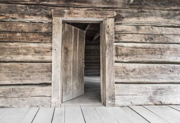 Rustic Open Door Concept Background stock photo