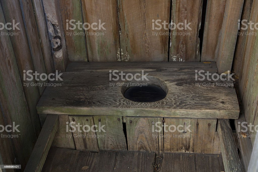 Rustic Outhouse, Interior stock photo