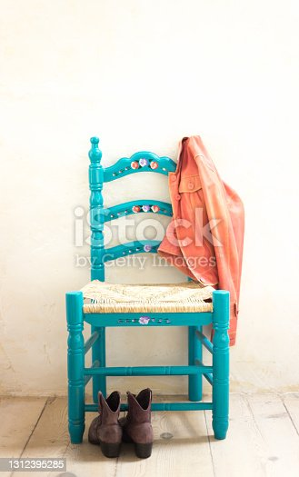 Rustic Painted Wood Chair, Boots, Pink Jacket