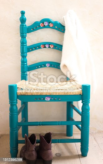 Rustic Painted Wood Chair, Boots, Sweater