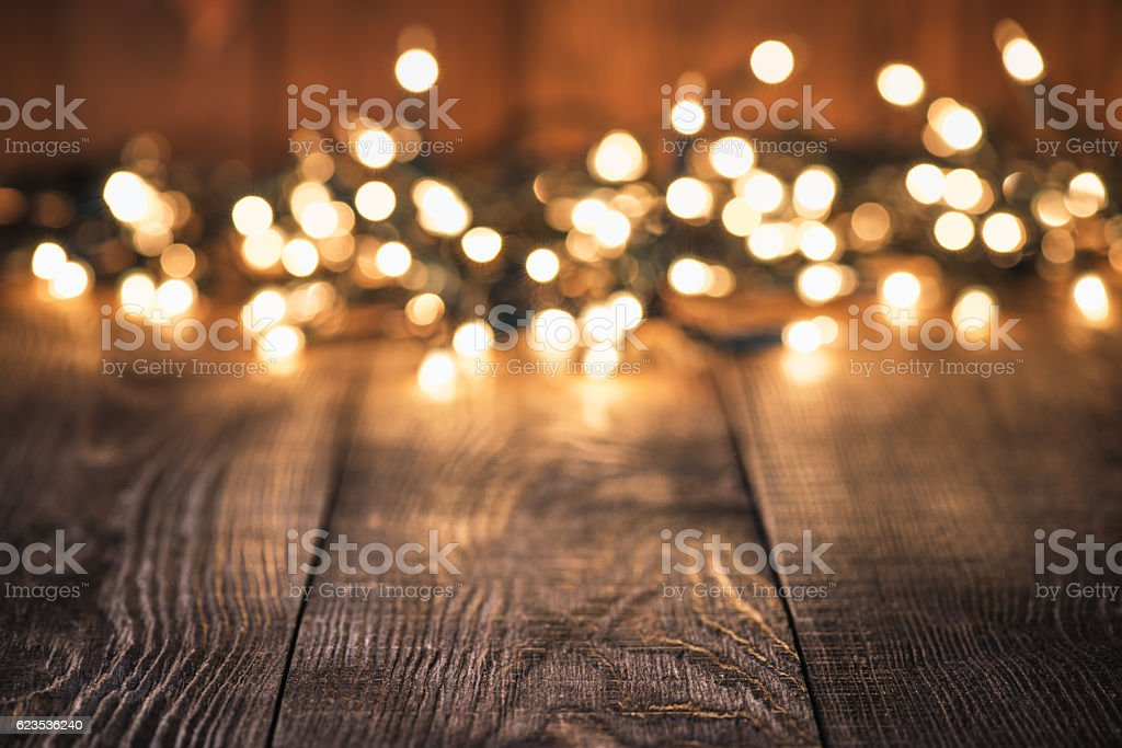 Rustic Plank Background and defocused lights stock photo