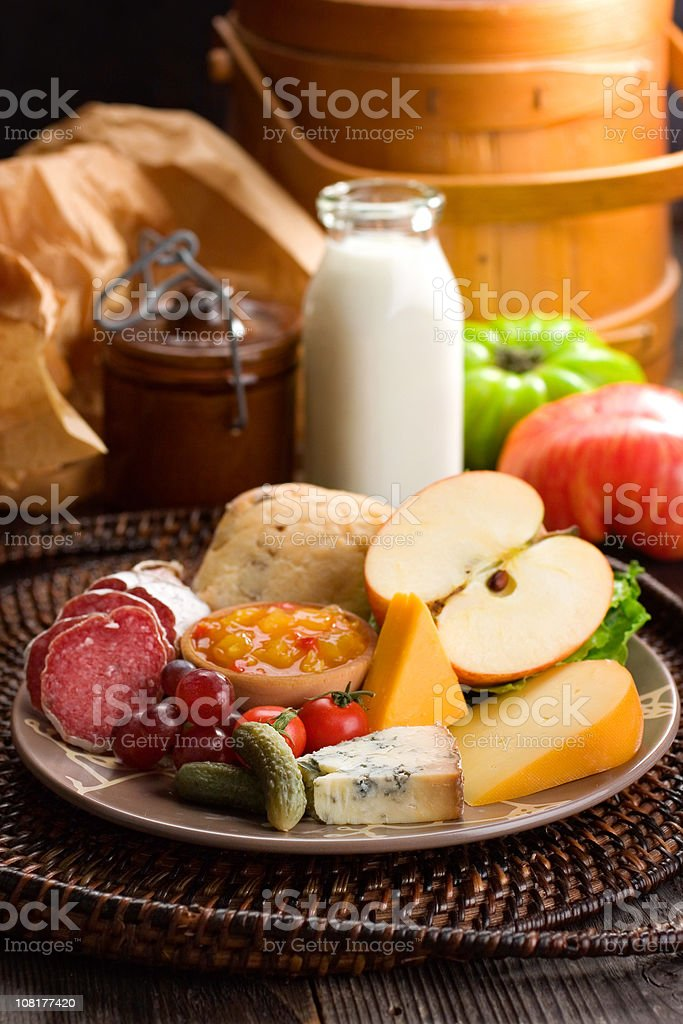 Rustic Ploughman's Lunch stock photo