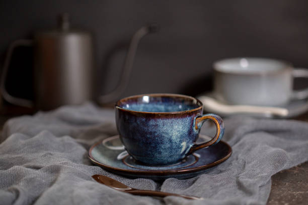 rustic pottery coffee cup stock photo