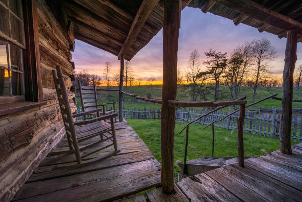 Rustic proch and scenic sunset. stock photo
