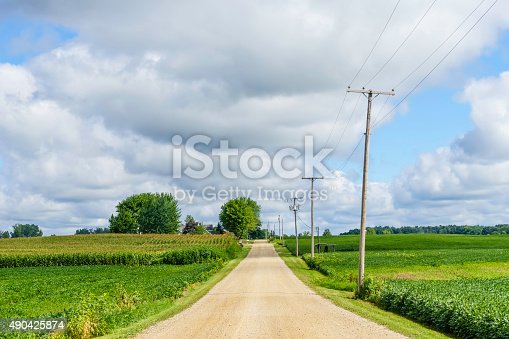 Rural road in farmland of northern Indiana, USA, in summer