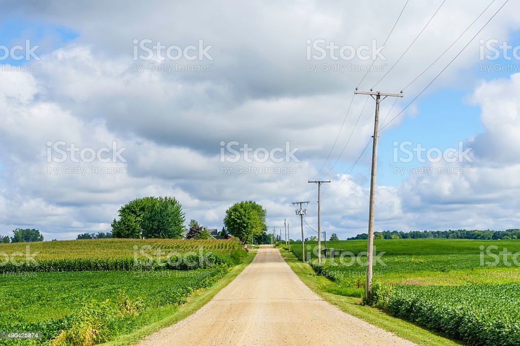 Rustic road in the American heartland stock photo
